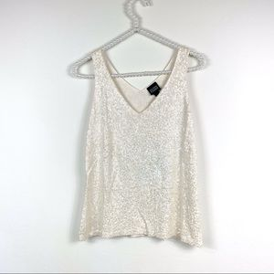 Eileen Fisher tank xs ivory sequins silk  blouse